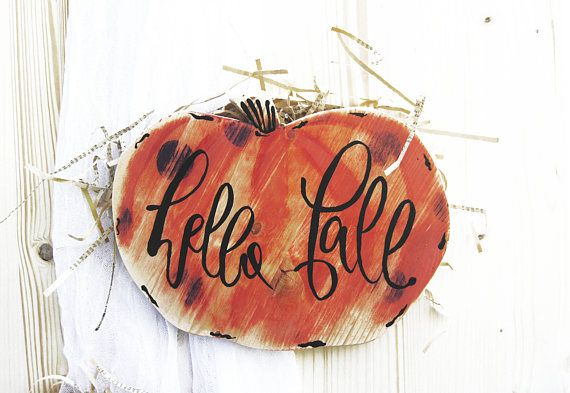 Hello Fall Farmhouse Pumpkin sign Front door porch sign