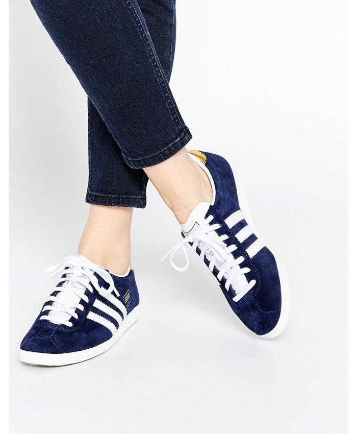 d61fc606a54bd0 Adidas Gazelle Womens Trainers In Blue White Gold