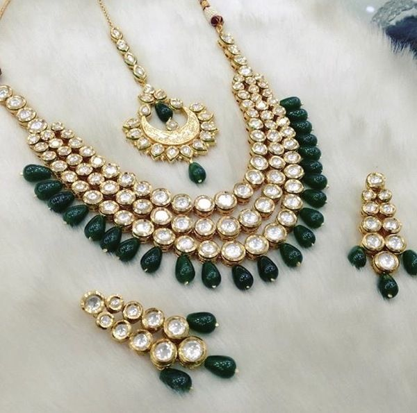 Indian Kundan Jewelry Necklace Set with Earrings Stones: Kundan Gold Plated *Please contact us for custom colors or to add additional jewelry pieces to this order