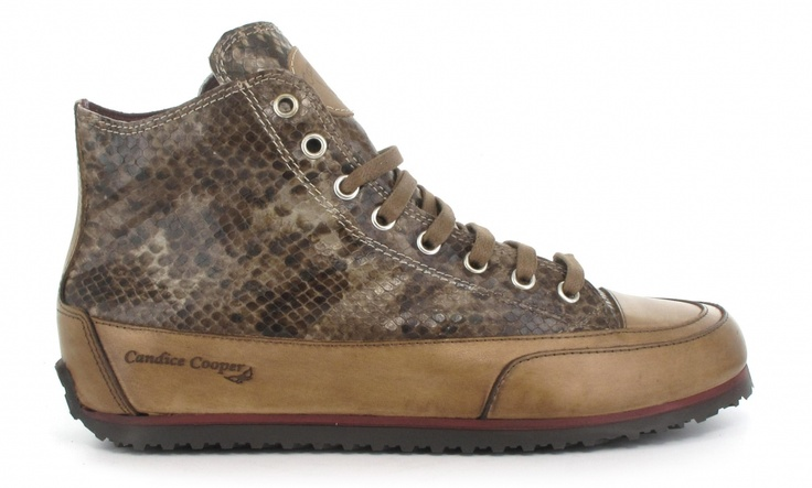 Candice Cooper, taupe python print sneaker.