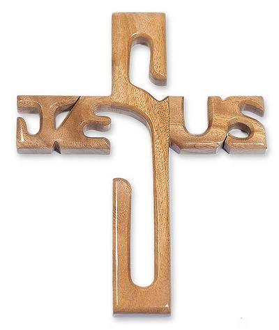 Mahogany Religious Wood Cross Wall Sculpture - Cross of Jesus | NOVICA