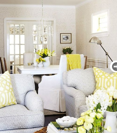 190 best hamptons style images on pinterest for Yellow and grey living room ideas