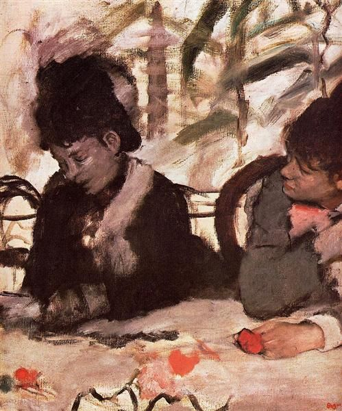 """At the Café"" c. 1877, Edgar #Degas"