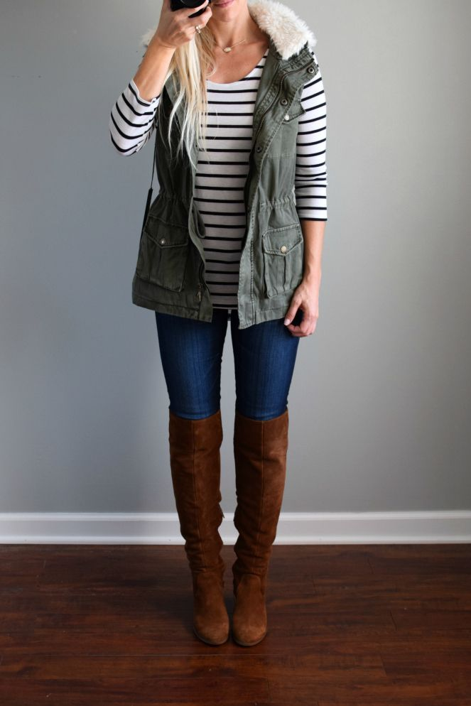 Love the green vest with black and white stripes