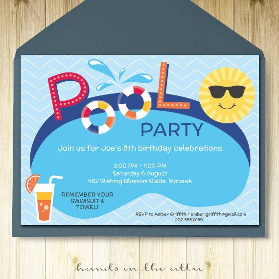 Pool Party Invitation Card Editable Template Party