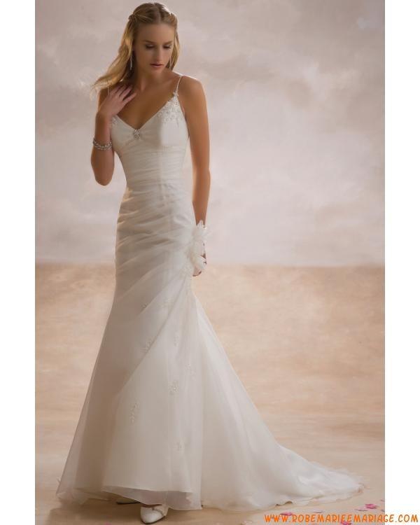 ... satin et organdi ornée de perles et de plis robe de mariée sirène