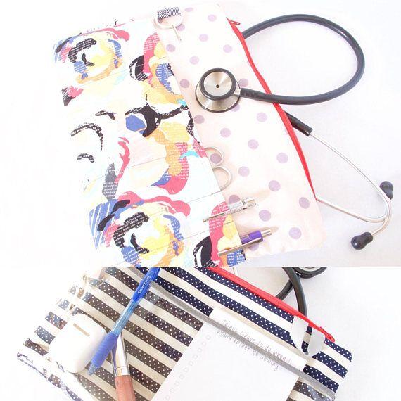 ROSES DOTS & STRIPES Stethoscope Bag. Nurse Bag. Doctor Bag.