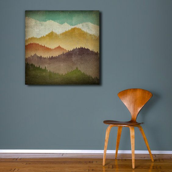 MOUNTAIN VIEW Smoky Mountains - Gallery Wrapped Stretched Canvas Wall Art 24x24x1.5 inches - SIgned