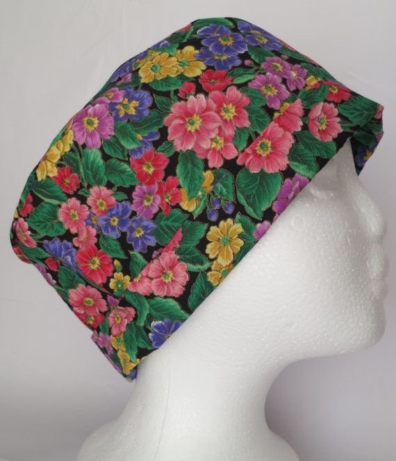 Scrub Hat Theatre Nurses Sugical Cap  Flowers by SnazzyScrubHats