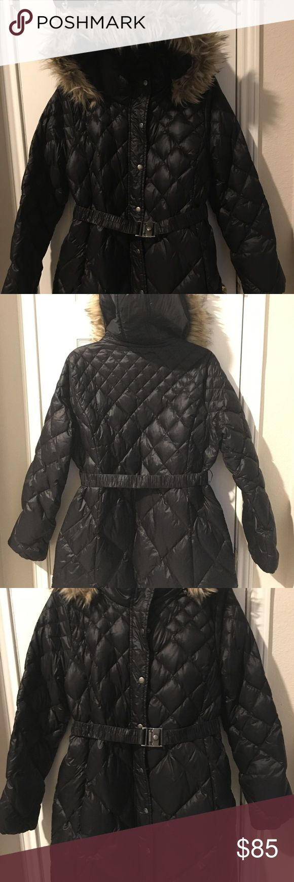 Belted Puff Coat with faux fur hood accent EUC. Quilted puff coat with a down and synthetic filling. Detachable hood and dual zipper/snap closure. It's COLD! Who says having a baby bump means you can't be stylish AND warm?! Also transitions well postpartum Smoke free/Pet free home. A Pea in the Pod Jackets & Coats Puffers