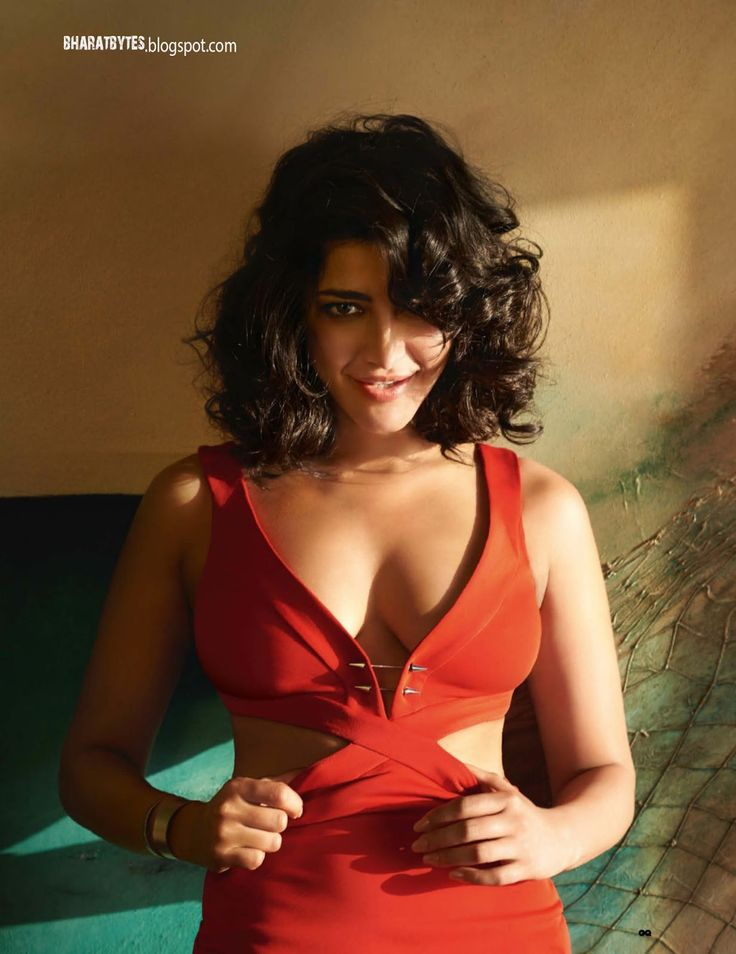 Shruthi Haasan sizzles in lovely Red Laex Deep Plunging Neckline Dress for GQ India May 2016 Magazine