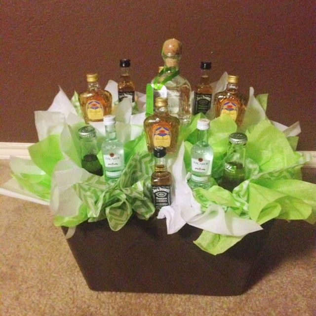 Liquor basket...Use wooden skewers and tape mini bottles to skewer with clear packaging tape. Use floral foam in bottom of basket. Add: golf balls and cigars for golf theme, Chocolates for Valentine's, etc.