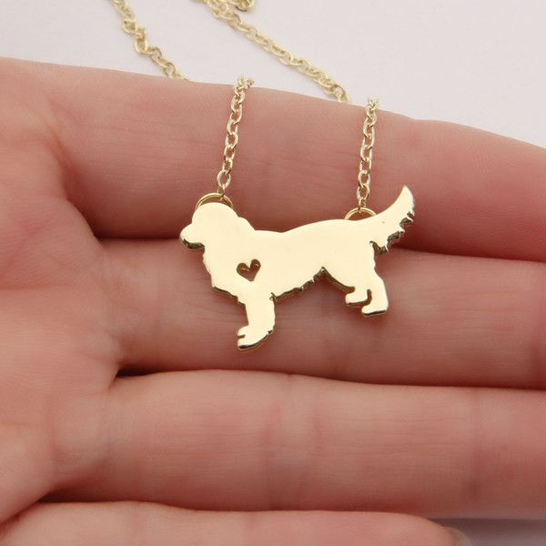 """Show Your Love and Be Fashionable with this cute Golden Retriever Silhouette Necklace Come in Silver Plated and Gold plated style. Made from Zinc alloy Dog silhouette is approx 25 mm and chain is 18"""""""