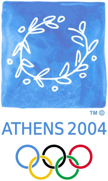 "Logo of the 2004 Olympic Games - Athens, Greece.  Official Motto: ""Welcome Home"""