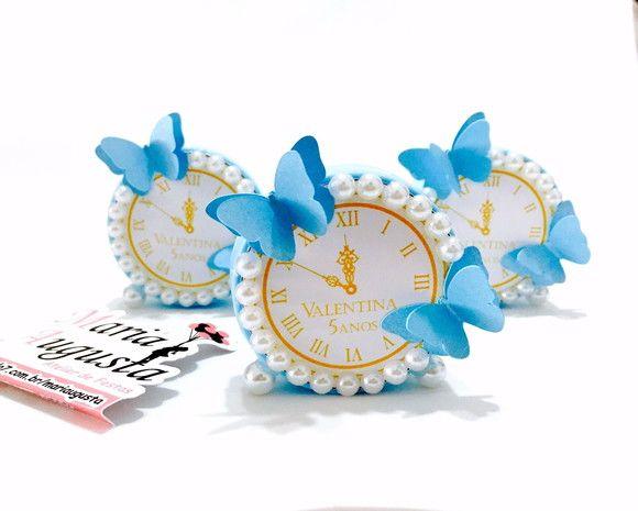 9969d4cace7 Latinha Relógio Cinderela Latinha plástica decorada em pérolas e Borboletas  3D Fazemos em outras cores Favor ler com atenção abaixo  O pr…