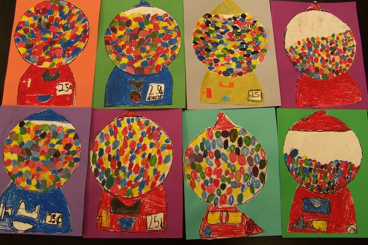 """""""The 2nd grade students reviewed color mixing ideas and used their skills to make an array of assorted colorful gumballs using only the primary colors. They had to blend colors, using only red, yellow, blue, black and white."""""""