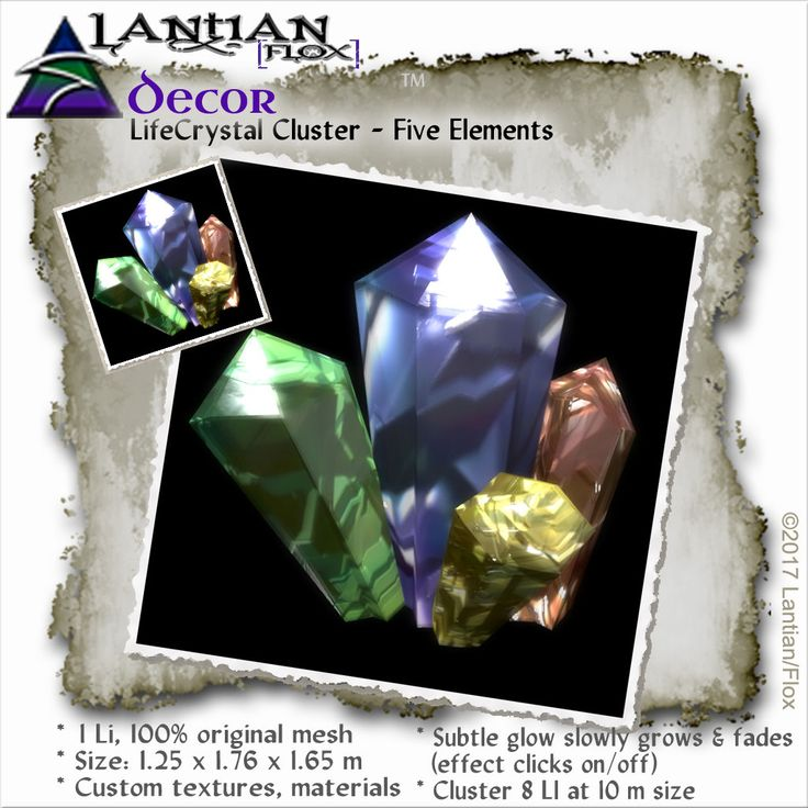 https://flic.kr/p/TJjK6f | lifecrystal-cluster---five- | ~Lantian/Flox~Crystal cluster with pulse glow, clicks on/off. 100% original mesh with baked textures and materials.