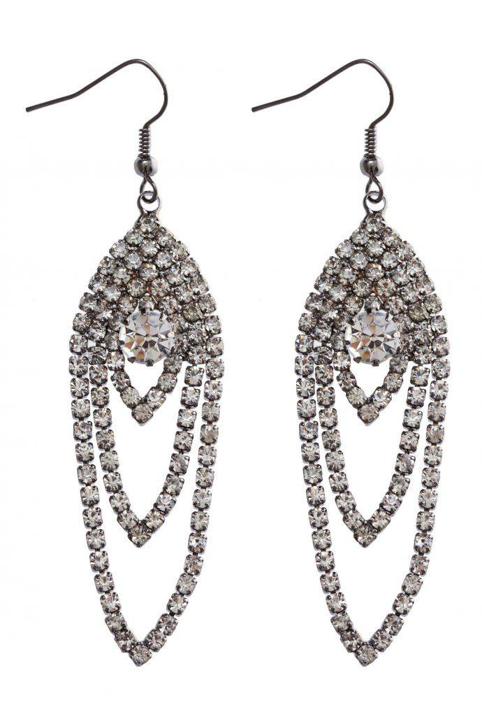 Diamante 3 Strand Drop Earrings $8.95