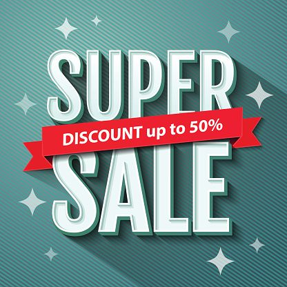 Vector Art : Super Sale inscription, banner design template. Sale poster