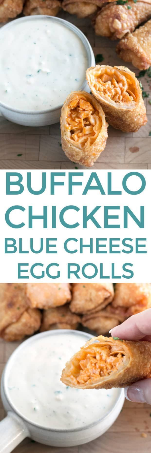 Blue Cheese Buffalo Chicken Egg Rolls have all the flavors of your favorite buffalo chicken wings, wrapped in crispy fried egg roll wrappers. The spicy filling with homemade buffalo sauce is sure to satisfy all the heat-seekers in your life, with a cooling blue cheese dipping sauce to balance it all out. Everyone will be fighting over the last one! Blue Cheese Buffalo Chicken Egg Rolls | cakenknife.com #tailgating #appetizer #recipe