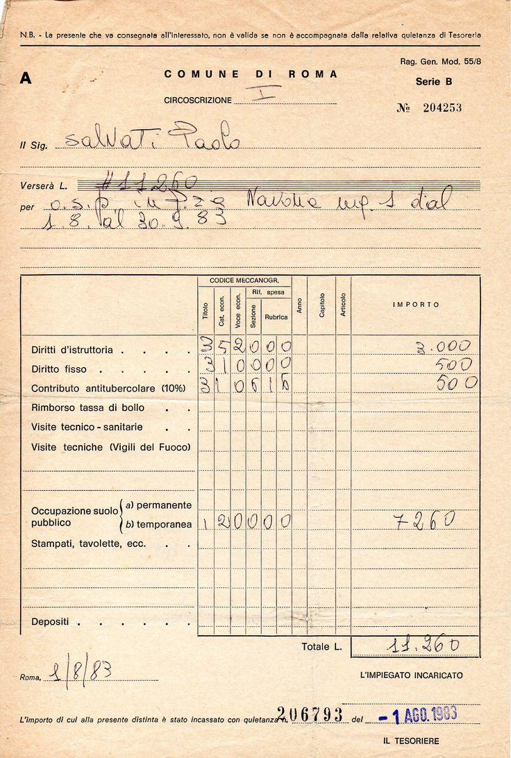 Autorizzazione per O.S.P. in Piazza Navona - agosto 1983 - PAOLO SLVATI.