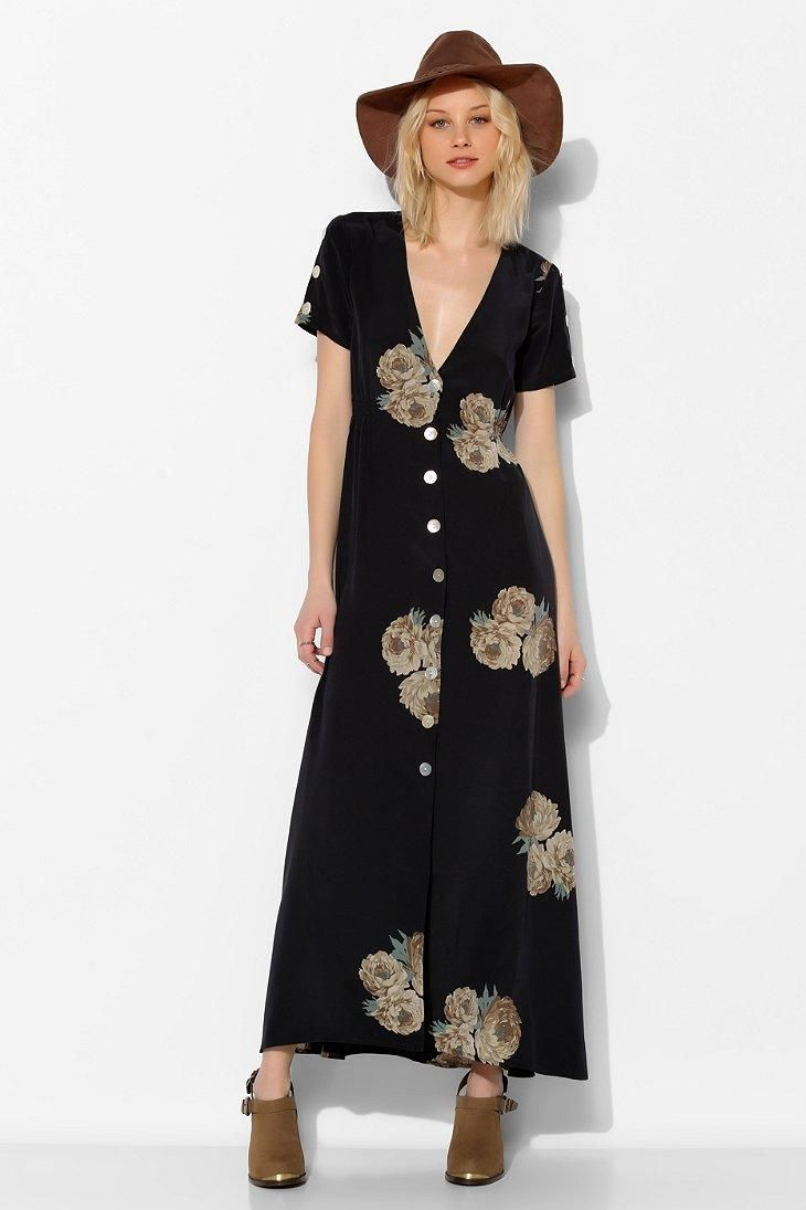 Stone Cold Fox Dharma Button-Front Maxi Dress #urbanoutfitters