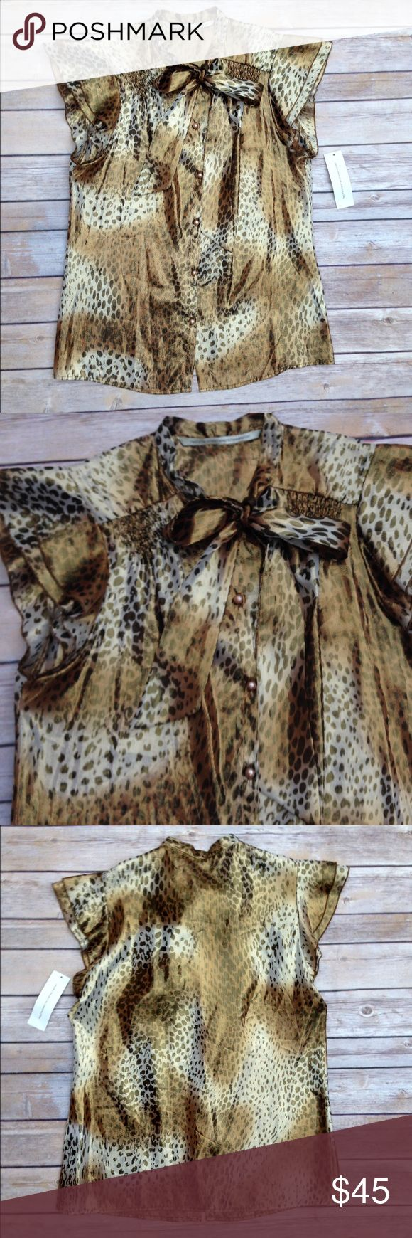Twelfth Street Leopard Metallic Blouse Self: 73% silk, 27% metallic. Condition: New with tags. Twelfth Street by Cynthia Vincent Tops Blouses