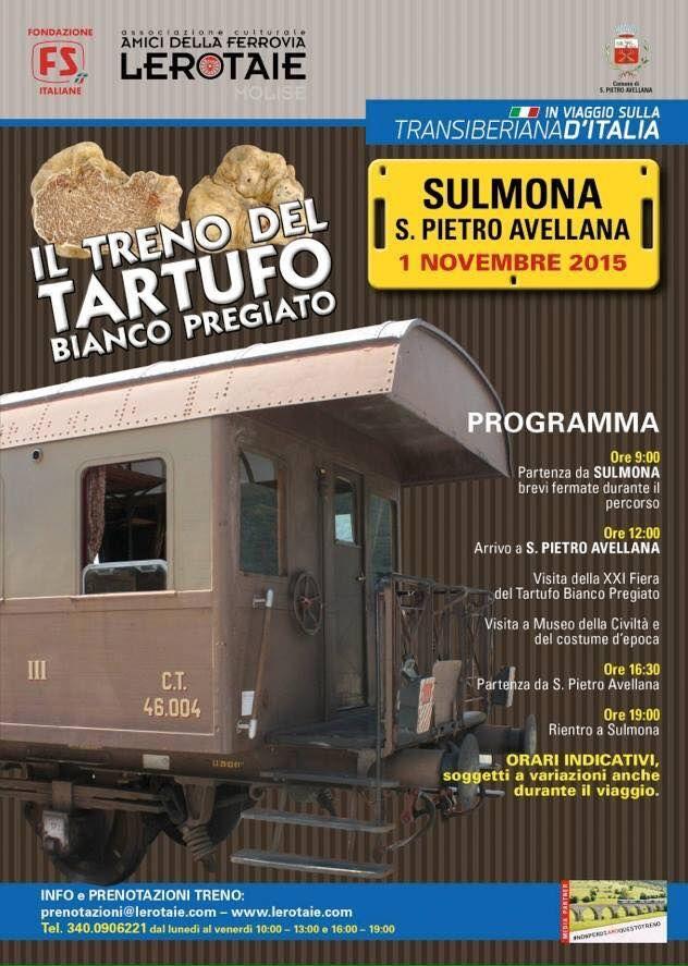 Il 1 novembre parte il Treno del Tartufo Bianco Pregiato -> http://goo.gl/M3mp7I #Molise #mangiareinmolise