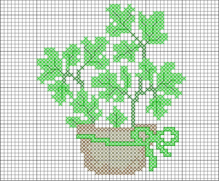 free cross stitch herbs in a pot