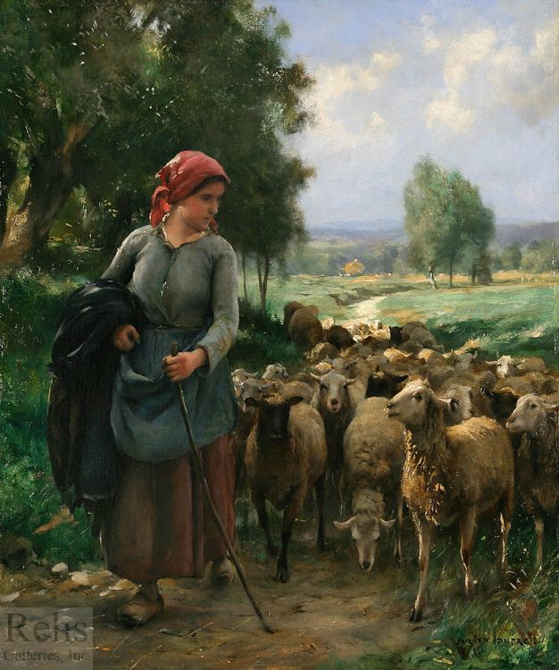 (France) Shepherdess & her Sheep by Julien Dupre. Oil on canvas.