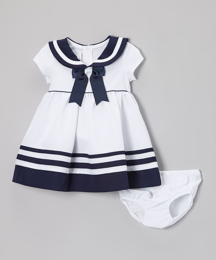 Look what I found on #zulily! White & Navy Nautical Dress & Diaper Cover - Infant & Toddler by Gerson & Gerson #zulilyfinds