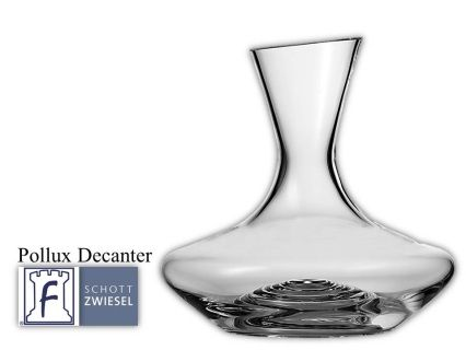 Pollux Decanter 1 L 33.8(oz) 9.0(H) 7.5(W)  Tritan crystal glass: non-lead material of titanium and zirconium oxide; resists breakage, chipping, scratching; thermal shock resistant; patented Red wine aerates as it flows down the sides in a beautiful pattern;  DISHWASHER SAFE will not etch, cloud or discolor for the life of the glass Made in Germany Product Code 0019.105230 SHIPPING IN CANADA ONLY!