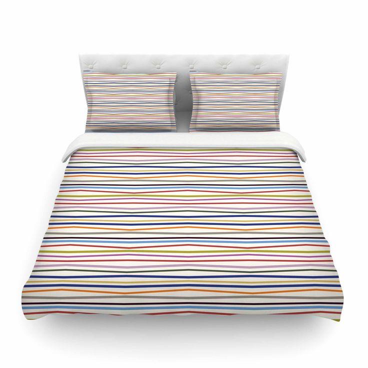 "Yenty Jap ""Stripe Fun"" Multicolor Red Cotton Duvet Cover from KESS InHouse"