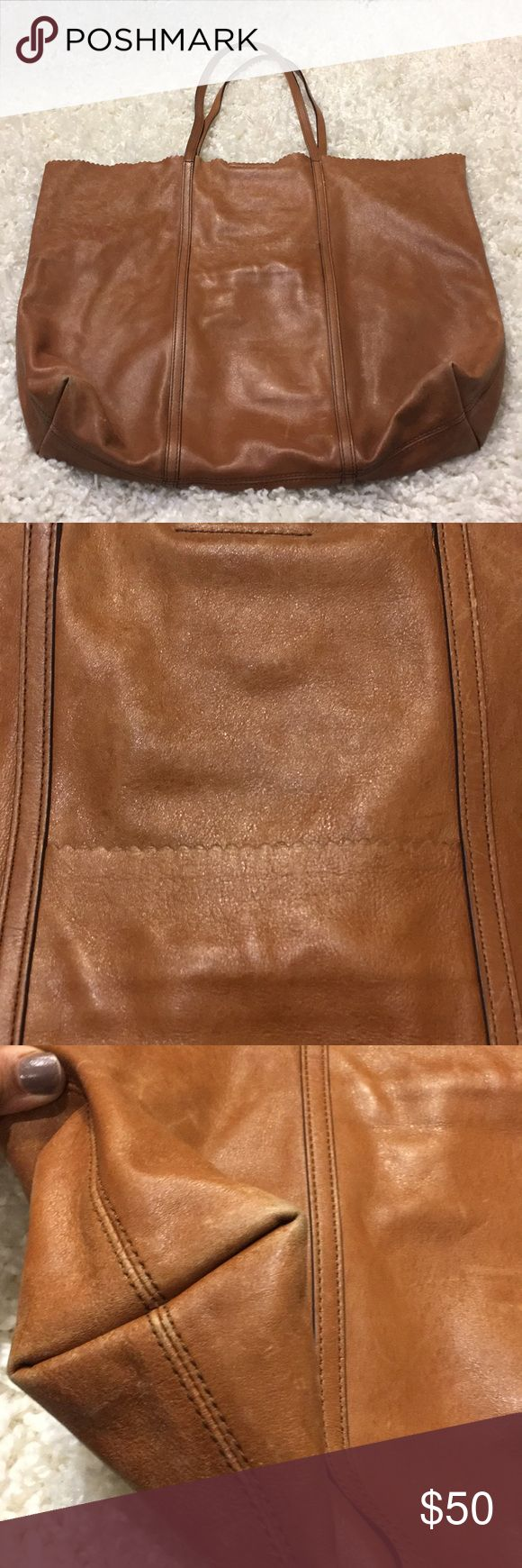 "Banana republic leather tote bag 100% leather. Wear shown in pics. 15"" x 20"" x 4. 9.5"" Banana Republic Bags"
