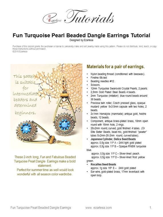 57b330b17b02a Fun Swarovski Turquoise Pearl Beaded Dangle Earrings Tutorial ...