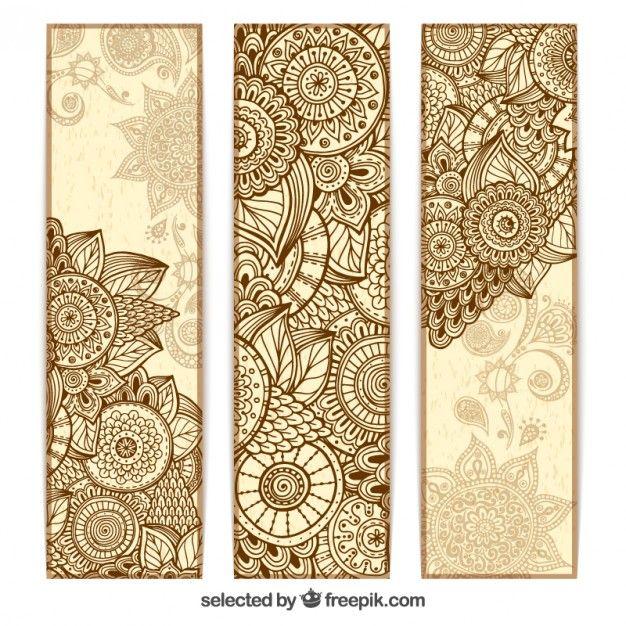 banners abstractas mandala Vector Gratis