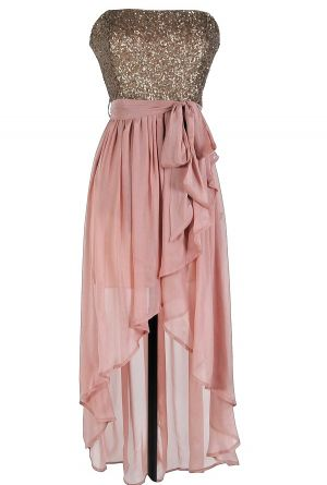 Bridesmaids dress | rose pink sequin high low strapless dress this dramatic