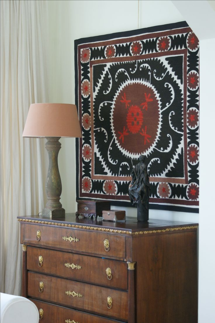 Old suzani on a panel as wall hanging