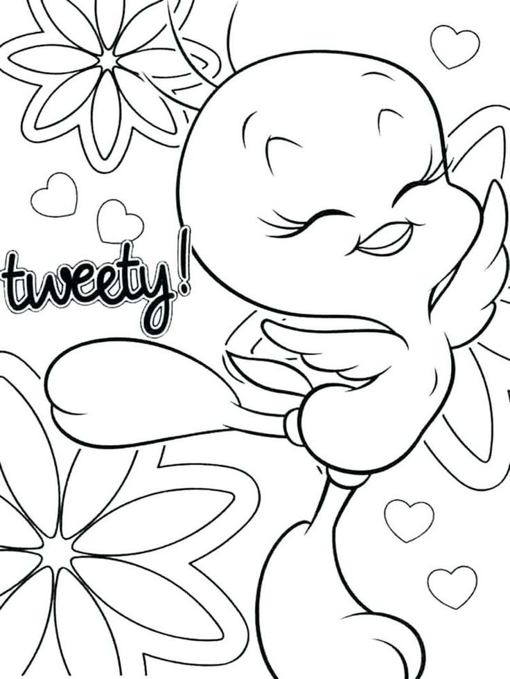 Tweety Bird Coloring Pages Easy