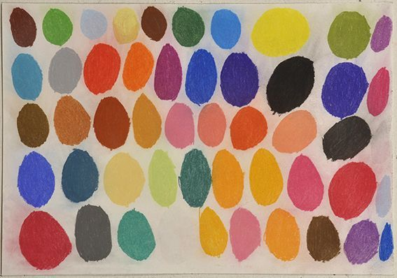 Patrick Francis, Not titled (coloured circles), 2010, acrylic on paper, courtesy Arts Project Aust