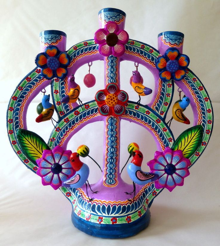 MEXICAN IZUCAR PAINTED CERAMIC TREE OF LIFE FOLK ART CANDLEHOLDER JORGE MC 005