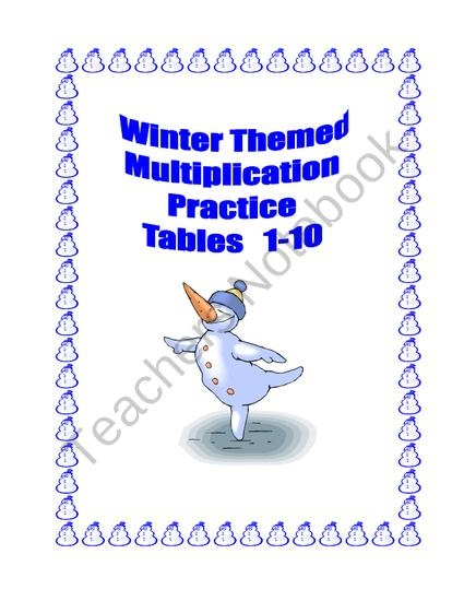 Winter Themed Multiplication Practice Tables 1-10 Printable Worksheets from Mrs. Mc's Shop on TeachersNotebook.com (32 pages)  - This 32 page package (15 student worksheets and a Key) contains a series of Winter themed math worksheets providing practice for the multiplication tables 1-10. There are practice sheets and activities such as coloring and mazes included. They can be put