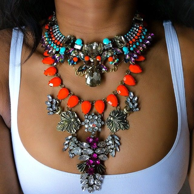 Bib necklace with turquoise, amethyst, coral gems.
