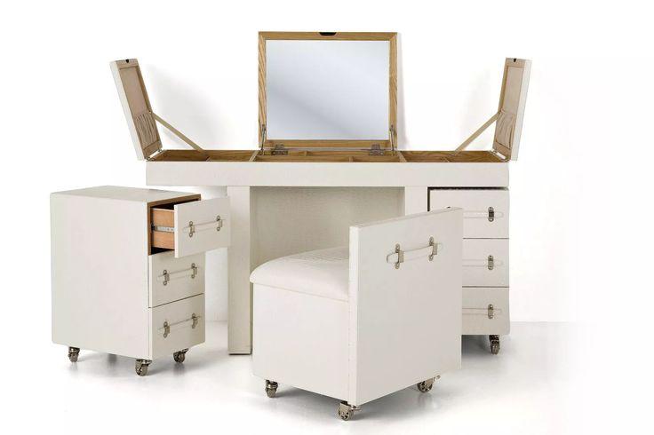 """«Туалетный столик с двумя тумбочками и стулом """"Diva white""""» (современный…"""