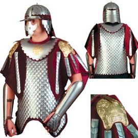 The 17th century Hussarian Armor was a symbol of the Polish Sarmatiam spirit and utilized the best characteristics of Western and Oriental armors. Fish scale armors were first utilized by Jan III Sobieski's army in the battle of Vienna in 1683.   Stands over approx. 6' tall with the wooden stand.  Weights approx. 60 lb.