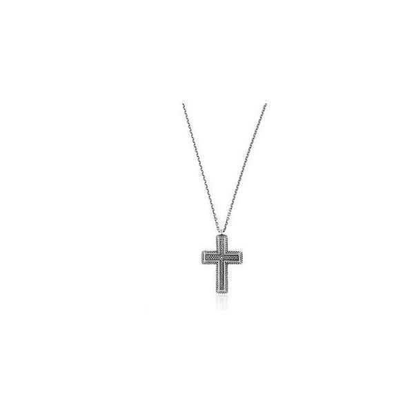 Manuel Bozzi Cross Necklace (27,870 INR) ❤ liked on Polyvore featuring men's fashion, men's jewelry, men's necklaces, mens cross necklace, mens sterling silver necklace, mens sterling silver cross necklace and mens crucifix necklace