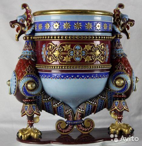Старинная фарфоровая ваза с царским клеймом Кузнецов