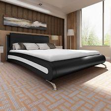 Kunstlederbett Doppelbett Bett Polsterbett Ehebett inkl. Matratze 140x200 cm #S