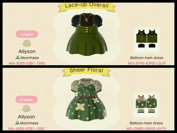 A couple green dresses i made acqr animal crossing