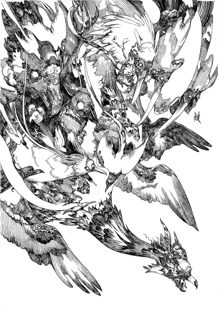 Katsuya Terada.  Beautiful simplicity of lines and curves, designed in swirls of negative space,